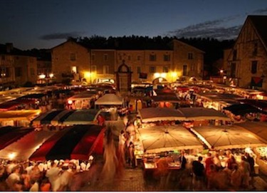 Dordogne summer night market in Eymet