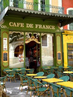 French cafe in a town.