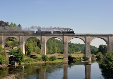 Steam train from Limoges to Eymoutiers France