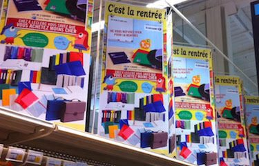 Stationery on display in French supermarket