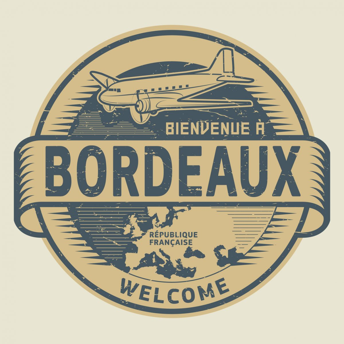 airplane and text Welcome to Bordeaux, France