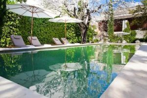 Languedoc Village House Swimming Pool With Deckchairs